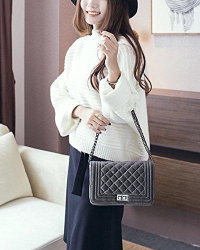Damen Kleine Umhängetasche Schulterkette Gitter Pattern Handtasche Satchel Messenger Purse Tasche Grau Grau
