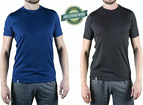 Alpin Loacker Merino T-Shirt Merino-Wolle Sportshirt Herren | wenig Schweiß + Lange trocken | Funktionsshirt Unterwäsche | m blau -