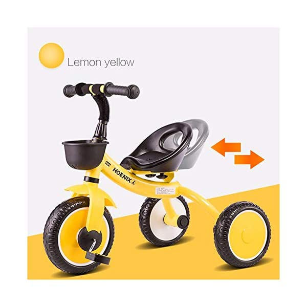 GSDZSY - Children kids Tricycle Foldable, Handlebar steering limit, 1-3 years old GSDZSY ❀ Material: High-carbon steel +ABS+ Rubber wheel ,Suitable for 18 Months to 5 years old Child, Maximum Load 30 kg ❀ The Push Rod can be adjusted Height, Pusher can control direction, Suitable for mothers of different heights ❀ The tricycle frame can be folded for easy carrying and storage 1