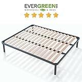 EvergreenWeb–Bett Lattenrost aus Holz, orthopädisch, verstärkt mit doppelter Stange Mitte und 4Füße abnehmbar, Rahmen komplett aus Eisen, Base-eingebaut ideal für alle Arten von Betten und Matratzen 160x190