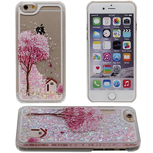 iPhone 6S Coque, Rose Arbre Peinture Flowable Liquide Eau Étoiles Clair Transparent PC Plastique Dur Housse de protection Case pour Apple iPhone 6 6S 4.7 inch rose