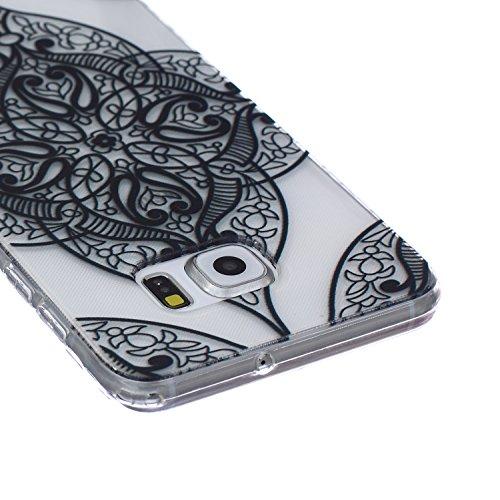 Ekakashop Coque pour Samsung Galaxy S6 Edge Plus, Ultra Slim-Fit Flexible Souple Housse Etui Back Case Cas en Silicone pour Galaxy S6 Edge Plus, Soft Cristal Clair TPU Gel imprimée Couverture Bumper d Mandala Floral Noir