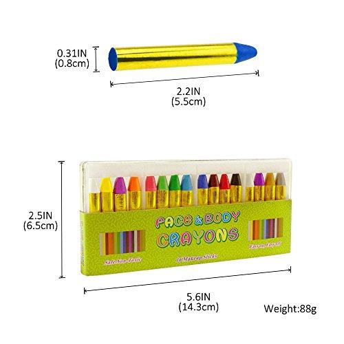 JamBer crayones de pintura de cara 16 colores pintados con pintura corporal para niños  seguros y no tóxicos