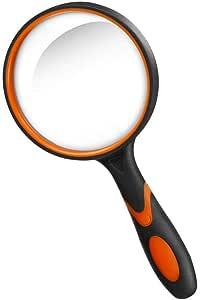 Lupe 10X, Handleselupe mit rutschfestem Weichgummigriff, 75-mm-Lupe, bruchsicherer Vergrößerungsspiegel zum Lesen von Büchern, Inspektion, Insekten (Grün/Orange) (Orange)