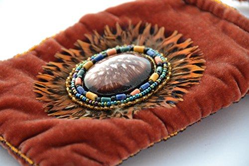 Sac en velours de soie pour téléphone iPhone ou lunettes motif plumes - billes de verre et porcelaine Rouille
