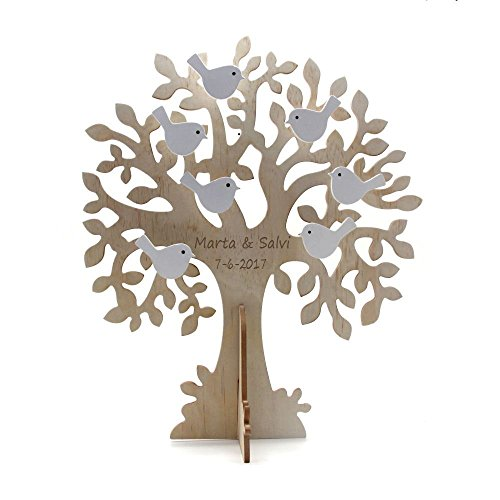 Árbol de deseos de madera PERSONALIZADO, grabado con los nombres de los novios y fecha boda.