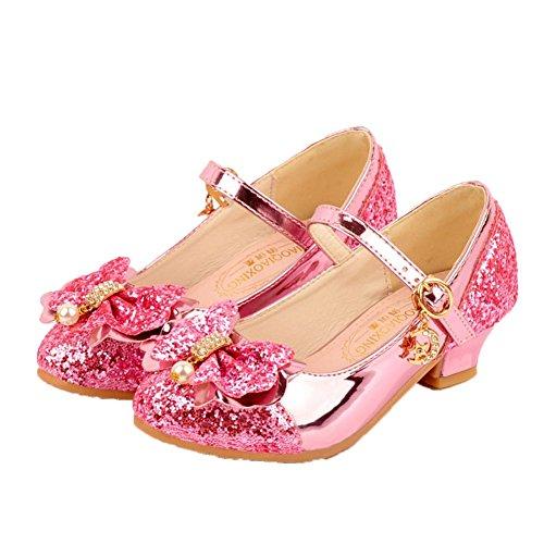 HXD Mädchen Prinzessin Gelee Partei Absatz-Schuhe Sandalen Stöckelschuhe Schmetterling (EU 30, Pink)