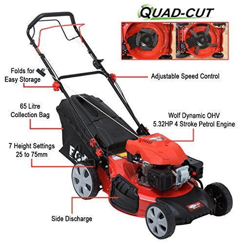 Frisky Fox 530 Quad Cut 21 173cc 532HP 4in1 Self Propelled 4 Stroke Recoil Start Petrol Lawn Mower with Single Lever Height Adjustment Large 10 Rear Drive Wheels Drive Speed Control 65 Litre Grass Col