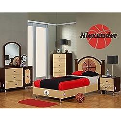 Baloncesto nombre pared vinilo adhesivo para niños niñas sala vivero vinilo pared decoración de la habitación del niño