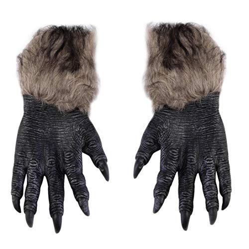 Togames-DE Halloween Werwolf Handschuhe Latex pelzigen Tier Hand Handschuhe Halloween ()