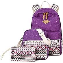 Borsa da donna Zaino Nuova moda borse borsa a tracolla in tela studente Borsa Multifunctional Bag in tre pezzi,viola