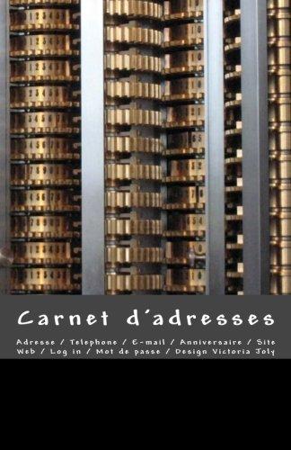 Carnet d'adresses: Adresse / Telephone / E-mail / Anniversaire / Site Web / Log in / Mot de passe / Noir