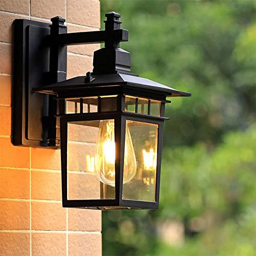 Antik Außen-Wandleuchte Vintage E27 Schwarz Aluminium Gartenlampe Retro Rustikal Wandlampe Aussen mit Glasschirm Aussenleuchte Wasserdichte IP44 Patio Foyer Balkon Villa Fassadenlampe,18*23*31CM