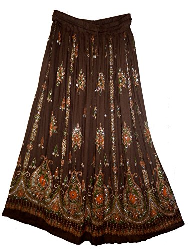jnb-rayonne-rides-jupe-indian-bwn-rock-kjol-jupe-style-hippie-boho-falda-e-femme-retro