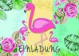 MOZTEC 12er Kartenset Flamingo / Einladungskarten für die Geburtstagsfeier oder Party mit Palmen und Blumen