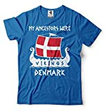Silk Road Tees Camiseta Vikings antepasados los Hombres de Vikings Dinamarca Camiseta Large Azul