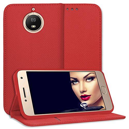 "mtb more energy Schutz-Tasche Bookstyle für Motorola Moto G5S (XT1793/XT1794/5.2"") | rot | Kunstleder | Klapp-Cover Hülle Case"