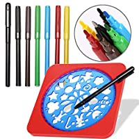 Arshiner Creative Drawing Stencils Kit, Creativity Kit And Travel Activity For Kids, Various Kinds Of Shapes With 6 Color Marker