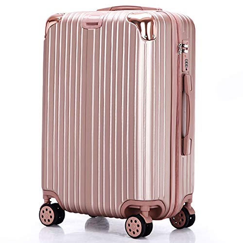 Gepäckstück Hartschalen-Reise-Trolley-Koffer Student Passwortbox Universalrad 4 Twin Spinner Wheels Blue-28inch-gold