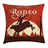 errterfte Rodeo Cowboy Riding Bull Wooden Old Sign Western Style Wilderness at Sunset Image 18 X 18 inch Unique Pattern Home Decoration Pillowcase Best Gift