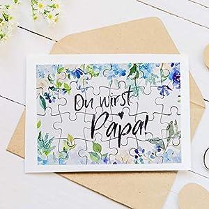 """A6 Puzzle mit 24 Teile """"Du wirst Papa"""" Blau Blumenmuster zur Verkündung der Schwangerschaft – Geschenkidee für Freund, Ehemann"""