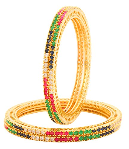 Bling N Beads 18K Gold Plated Ruby Emerald American Diamond Bangles For Women (set of 4) Karwachauth / Diwali Gift for Her (2.6)  available at amazon for Rs.1500