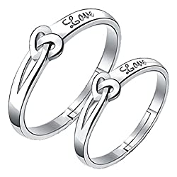 19 Likes 925 Silver Adjustable Lover Heart Metal Ring For Couple