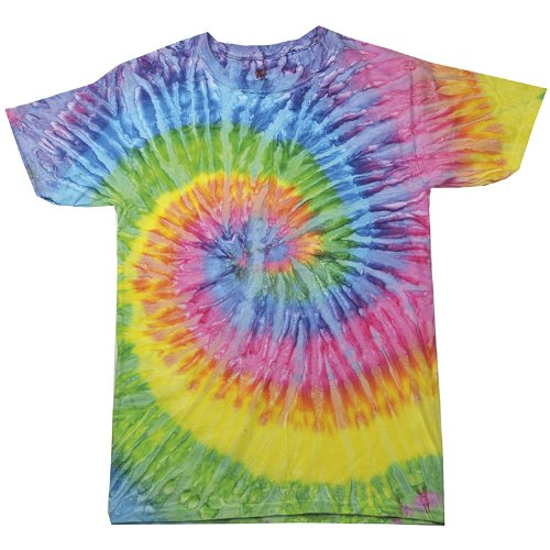 New Colortone Kids Outdoor Hand-Dyed Casual Cool Summer Rainbow Tie-Dye T-Shirt