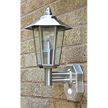 High Quality Stellus Contesa Stainless Steel Outdoor Wall Light With PIR Motion Sensor U0026  LED Bulb
