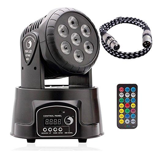 U`King DMX512 LED Lichteffekte Discolicht Mini 4 in 1 RGBW Partylicht mit Professionell 9/14 5 Control Mode Moving Head für DJ, Disco,Club Partei,Draussen(mit Fernbedienung und DMX-Linie)