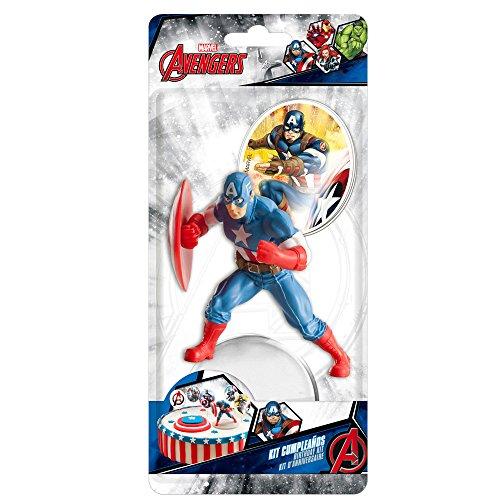Captain America 303006 KIT Decoration GÂTEAU Figurine, Plastique, Multicolore, 11 x 5 x 23 cm