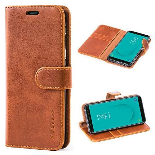 Mulbess Handyhülle für Samsung Galaxy J6 2018 Hülle, Leder Flip Case Schutzhülle für Samsung Galaxy J6 Tasche, Cognac Braun