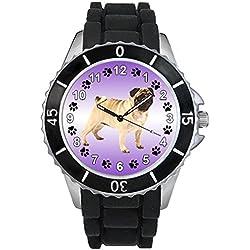 Pug Unisex Reloj para hombre y mujer con correa de silicona negro