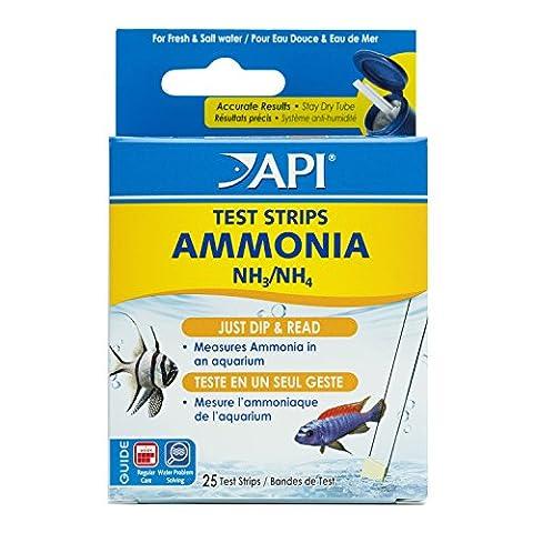 API Aquarium Freshwater and Saltwater Ammonia Test Strips Box, 25-Piece