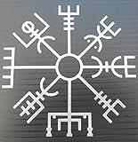 Rúnico islandés Tumblr Vegvisir vinilo de la etiqueta engomada (plata)