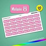 Stickerella - 30 Namensaufkleber für Kinder - Namensetiketten für Schule und Kindergarten, personalisierbar, permanent, wasserfest (11 x 26 mm) (pink)