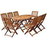Festnight 9 pcs Salon de Jardin en Bois d'acacia Massif 1 Table Ovale Pliable et 8...