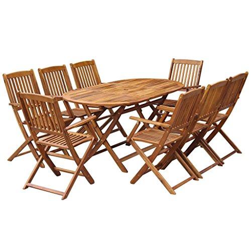 Festnight 9 pcs Salon de Jardin en Bois d'acacia Massif 1 Table Ovale Pliable et 8 Chaises Pliables