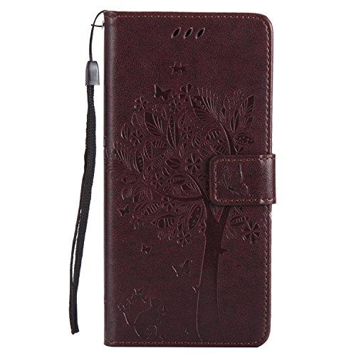 Gray Plaid Coque XiaoMi RedMi Note 5 Pro, Haute Qualité PU Cuir Flip Étui Case Cover [Portefeuille] [Porte-Carte] [Fonction de Support] XiaoMi RedMi Note 5 Pro - Marron