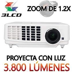 Luximagen HD900 - Full HD 1080P, maxima luminosidad 3.800 lúmenes Portátil Proyectores LED 3LCD Cine en casa 1920x1080 2 x HDMI VGA USB para PS4, XBOX ONE, Nintendo Switch, proyecta con luz