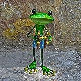 Fabulous grün Metall Garten Frosch mit Fernglas Skulptur Ornament Figur Frösche