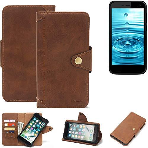 K-S-Trade Handy Hülle Energizer H500S Schutzhülle Walletcase Bookstyle Tasche Handyhülle Schutz Case Handytasche Wallet Flipcase Cover PU Braun (1x)