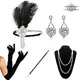 KQueenStar 1920er Jahre Zubehör Set Flapper Kostüm Accessoires für Damen 20s Gatsby Jahre Stirnband Kopfschmuck Ohrringe Perlen Halskette Handschuhe Zigarettenspitze (White Set)