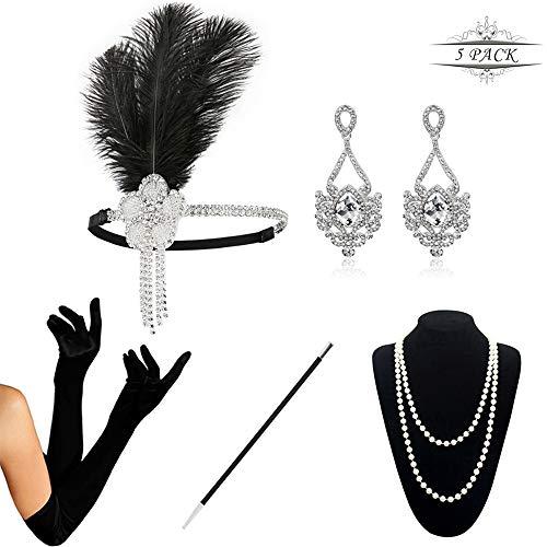 Und Kostüm Accessoires Schmuck - KQueenStar 1920er Jahre Zubehör Set Flapper Kostüm Accessoires für Damen 20s Gatsby Jahre Stirnband Kopfschmuck Ohrringe Perlen Halskette Handschuhe Zigarettenspitze (White Set)