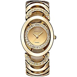 Longqi Luxury Women Rhinestone Quartz Watch Hollow Out Design Female Wristwatches