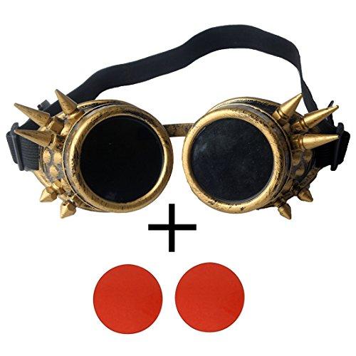 AFUT Schutzbrille Steampunk Schweißen Gotik Fotos Gelbes Rahmen Rote Linse