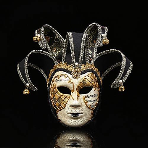 YWJ Masquerade Mask Jester Halloween Karneval Party Ball Kostüm Augenmaske,2