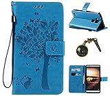 PU für Huawei Ascend Mate 7 Hülle,Geprägte Schmetterlings-Blumen Handyhülle/Tasche / Cover/Case für Huawei Ascend Mate 7 PU Leder Flip Cover Leder Hülle Schutzhülle Wallet Tasche Etui Standfunktion