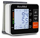 AccuMed ABP801 Portable Wrist Blood Pressure Monitor with One-Touch Intelligent Automatic Measurement (Black) - 4-in-1 Functionality for Systolic / Diastolic BP, Heart Rate (BPM), Hypertension Guide (WHO Classification Indica