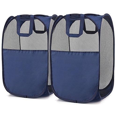 magicfly Pop-Up-Wäschekorb,, Pop-Up-Mesh mit verstärkte Tragegriffe, Wäschekorb faltbar, blau, 2Stück